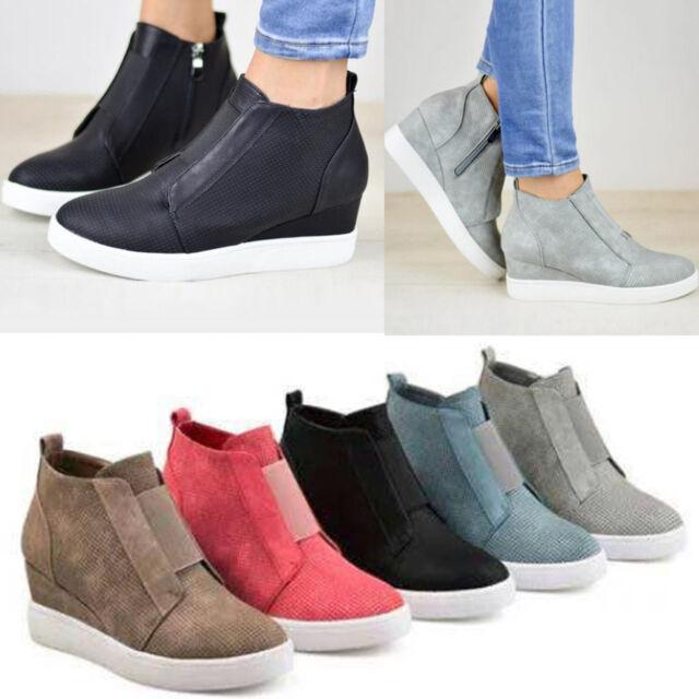 Women Hidden Wedge Mid Heel Ankle Boots Sneakers Trainers Round Top Zipper Shoes