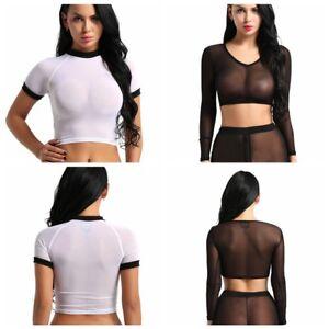 9819672f7b Sexy Women s Ladies V-neck Transparent Sheer Mesh Crop Top T-Shirt ...