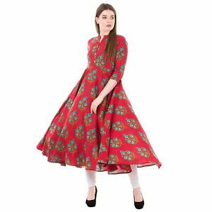 Indian Women Kurti Kurta Ethnic Tunic Top Bollywood Designer Dress Long Gown New