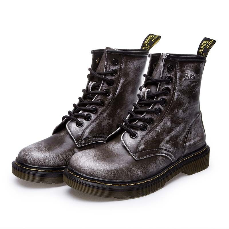 Women's Motorcycle Classic Martin Riding Ankle Boots High Top Lace Up shoes Size