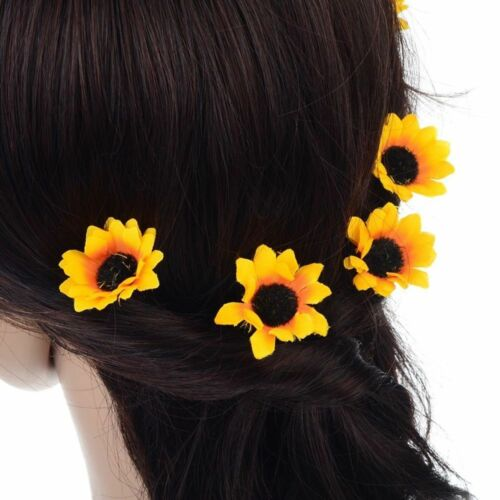 Decor Bridal Party Daisy Flower Yellow Prom Headband Headpiece Hair Pins Clips