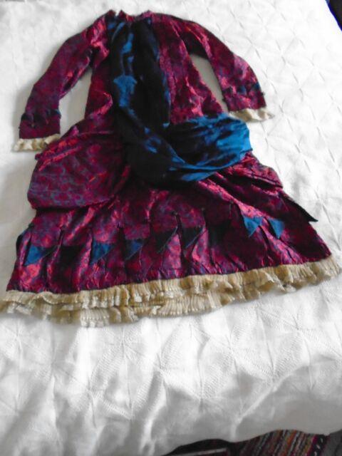 Antique Georgian child's bustle dress silk satin brocade plum red navy trim