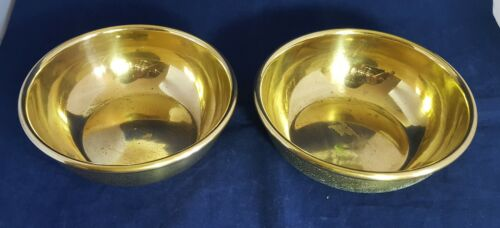 Beautiful Pair of Vintage 1956 Solid Brass Bowls By MMS