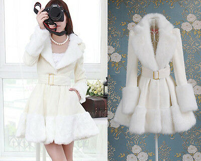 Hot pure white Womens Coat fur collar skirt jacket Winter Sexy trench Overcoat