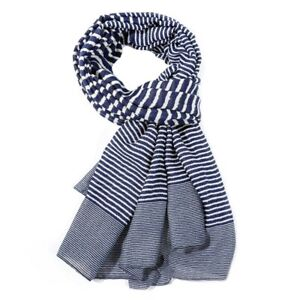 New-Navy-Blue-White-Stripe-Scarf-Grey-Stripes-Striped-Wrap-Shawl-Ladies-LilyRosa
