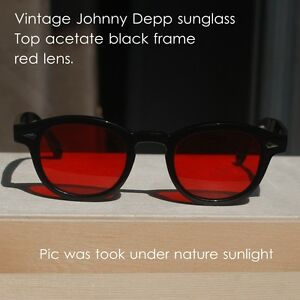 Vintage-Johnny-Depp-sunglasses-red-lenses-mens-womens-black-acetate-glasses