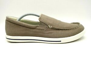 ll bean brown canvas casual comfort slip on sneakers shoes