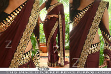 Bollywood Designer Party Wear Brown Color Georgette Fabric Designer Border Saree