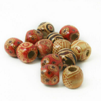 100Pcs 9x10mm Tribal Patterned Wood Beads Mix Wooden Dreadlock Pony Bead Macrame