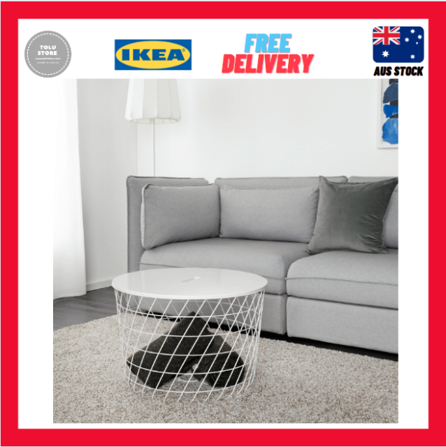 Ikea Kvistbro Storage Table Coffee Bedside Home Office White 61cm For - White Coffee Table With Storage Ikea