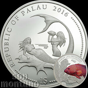 Palau 2015 1$ Marine Life Protection Whitetail Damselfish 25g Silver Proof Coin