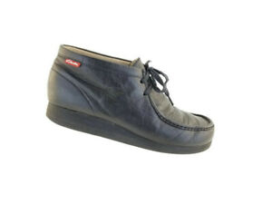 CLARKS-Wallabees-Cuir-Noir-Hommes-Bottines-Chukka-Bottes-Lacets-Chaussures-Taille-12