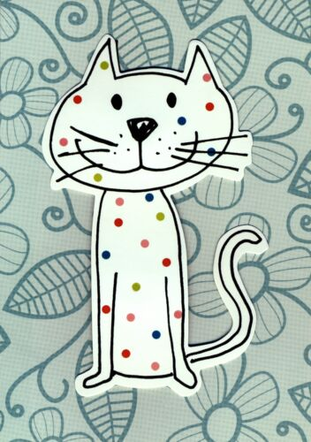Kitty Cat Kitten Greetings Card All Occasions Blank Inside Quirky Cute 7x5 inch