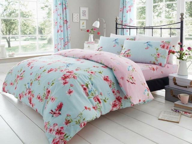 BIRDIE BLOSSOM Duvet Cover /& Pillowcase Quilt Cover Bedding Set ALL SIZES SALE