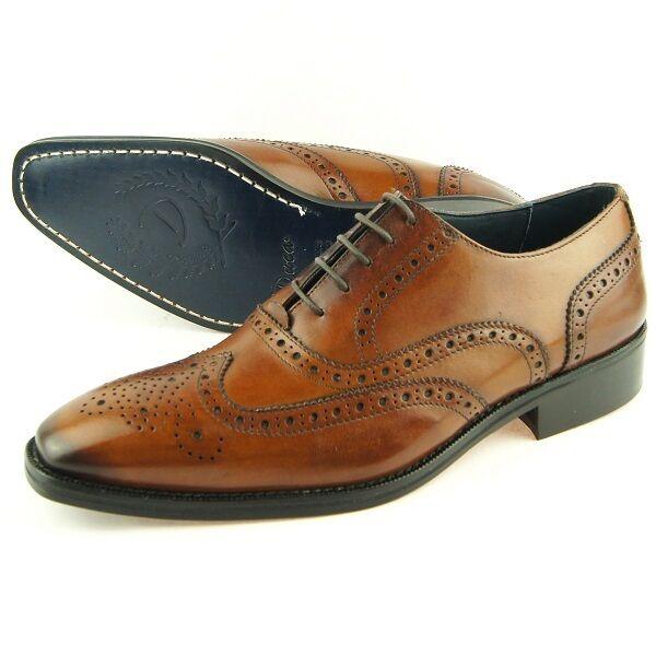 Duca Di matiste   1516  clásico de la punta del ala Oxford, Para Hombre Vestido Zapatos De Cuero, Italia