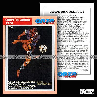 Coupe Du Monde 1974 Wm 74 World Cup - Fiche Football / Fussball Laatste Mode