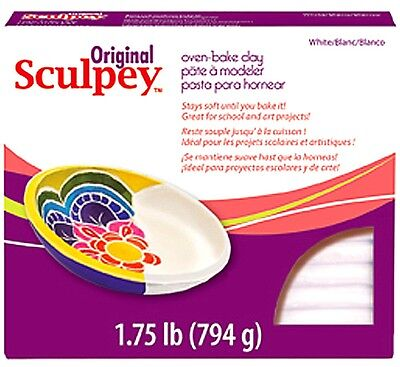 SCULPEY ORIGINAL -Oven Bake Polymer Clay - 794g Block (1.75lb) - WHITE x 3