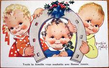1930s Beatrice Mallet/Artist-Signed New Year Postcard: Children & Horseshoe
