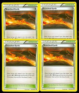 110//124 4x Scorched Earth Uncommon XY Fates Collide Pokemon Near Mint