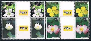 Mauritius-2016-Fresh-Water-Flora-4v-GUTTER-PAIRS-MNH