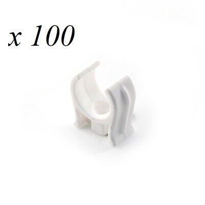 100 X Push-in Offenen Weißen Clip Kunststoff 15mm Fitting Sanitärrohr Snap Halte Hell Und Durchscheinend Im Aussehen