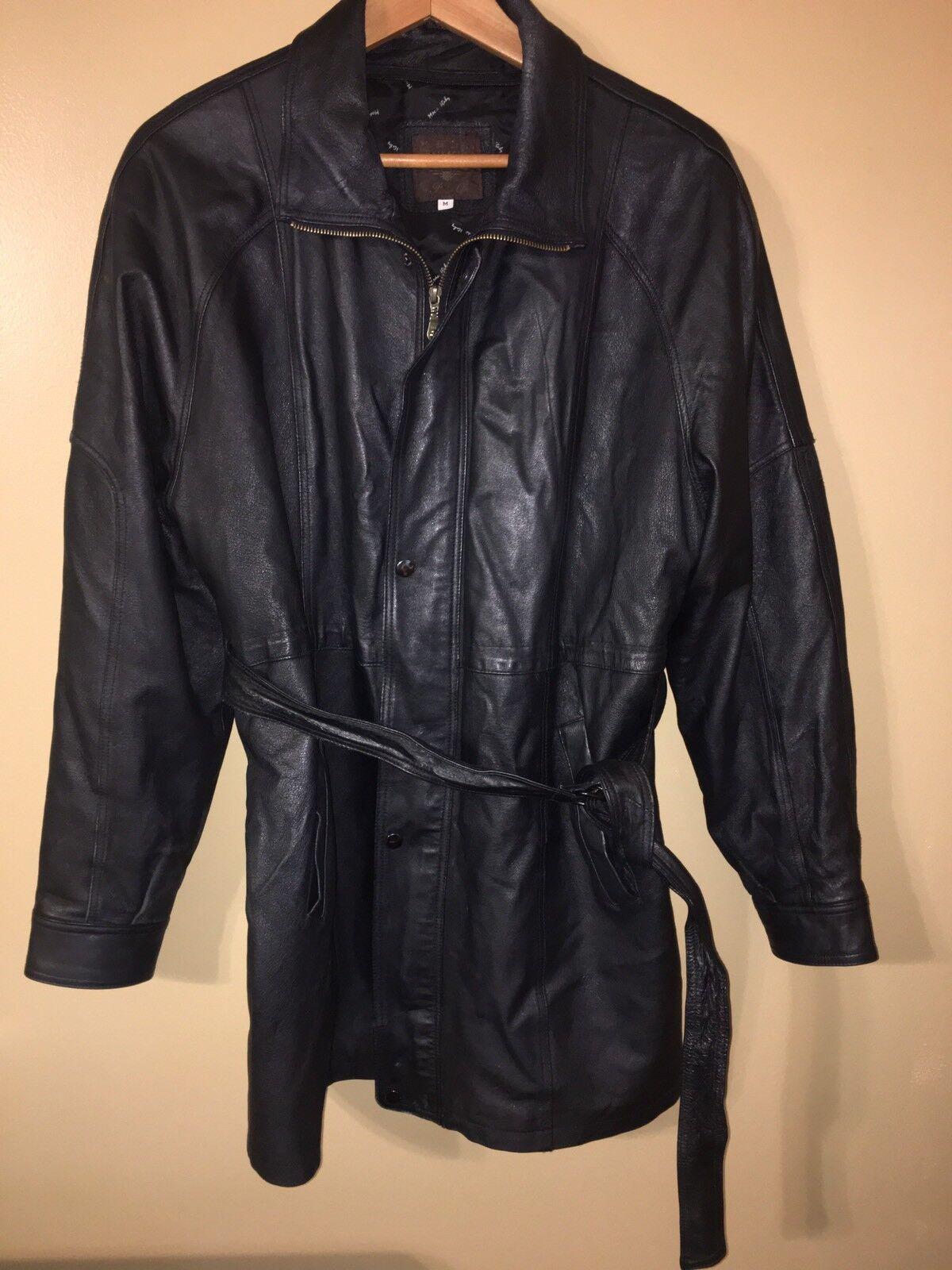 Moda italy bellagio mens Leder coat Größe M