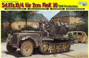 Sd-Kfz-10-4-Fur-2cm-Flak-30-1939-Prod-DRAGON-1-35-PLASTIC-KIT