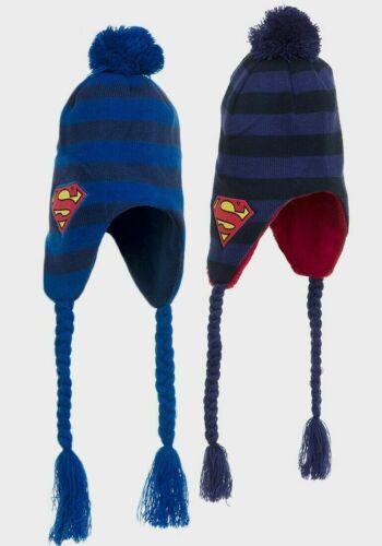 Kinder//Junge Superman Dunkel//Blau Puschel Pudelmütze mit Ohrenklappen