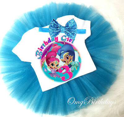 Shimmer and /& Shine Shirt 2nd Second Birthday Pink Tutu Outfit Girl Headband