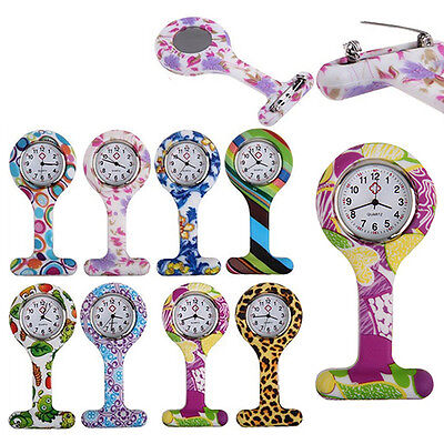 Gorgeous Patterned Silicone Nurses Brooch Tunic Fob Pocket Watch Stainless Dial