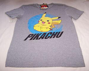 Pokemon-Mens-Pikachu-Grey-Marle-Printed-Short-Sleeve-T-Shirt-Size-XL-New