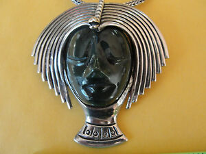 LOS-BALLESTEROS-Mexico-Vtg-STERLING-PENDANT-PIN-NECKLACE-Stone-Mask-53-gram-Y38