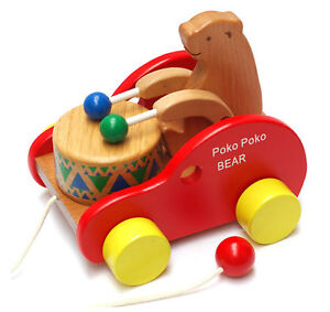 Walk-a-Long Lion Baby Toddler Wooden Pull Along Toy Early Development Toys