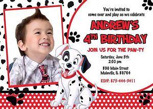 101 Dalmatians Dalmatian Puppy Dog Birthday Party Invitation Ebay