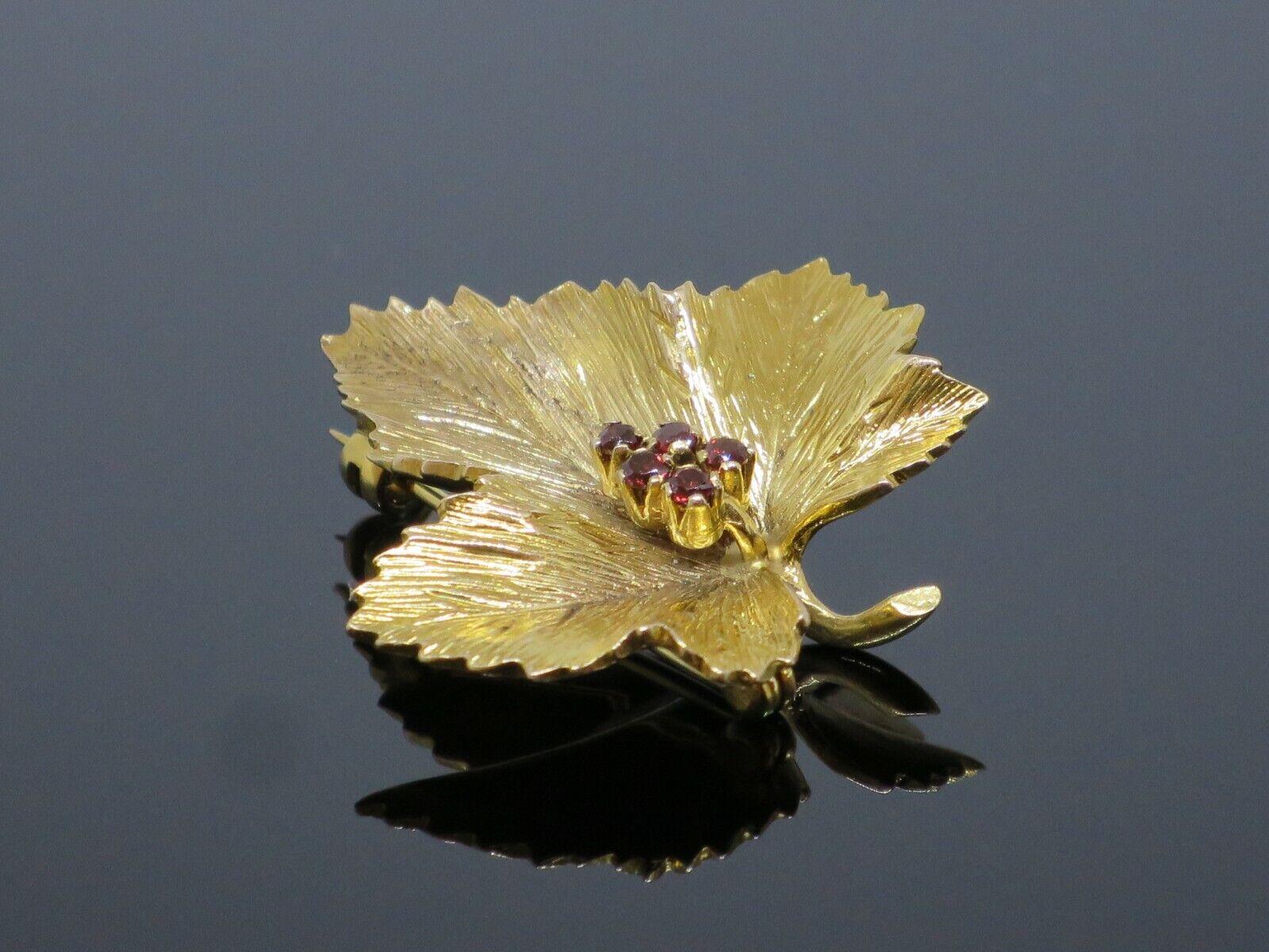 "Vintage ""Sycamore Leaf"" 0.15CTW Garnet 9K Yellow … - image 3"