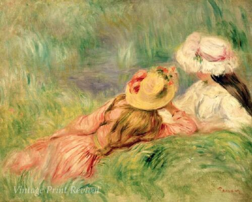 Young Girls on the Riverbank by Auguste Renoir Relax Hats Sun 8x10 Print 1148