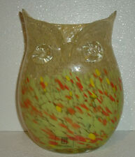 "Art Glass Owl Vase 9"" Yellow New With Tag Hand Blown Spatter Medium"