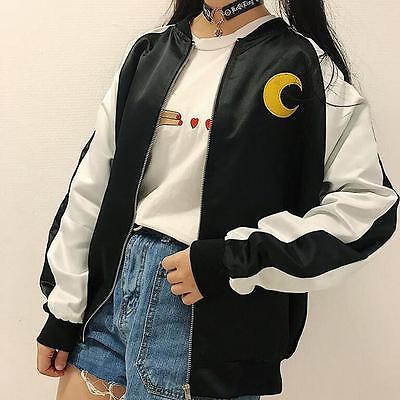 Girls Harajuku Anime Sailor Moon Baseball Cartoon Jacket Uniform Coat Cosplay
