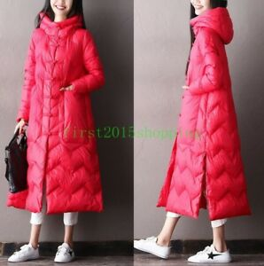 Womens Cotton Linen Down Jacket Long Vintage Lightweight Trench Coat Long Button Down Coat Outwear Robe Padded Jacket
