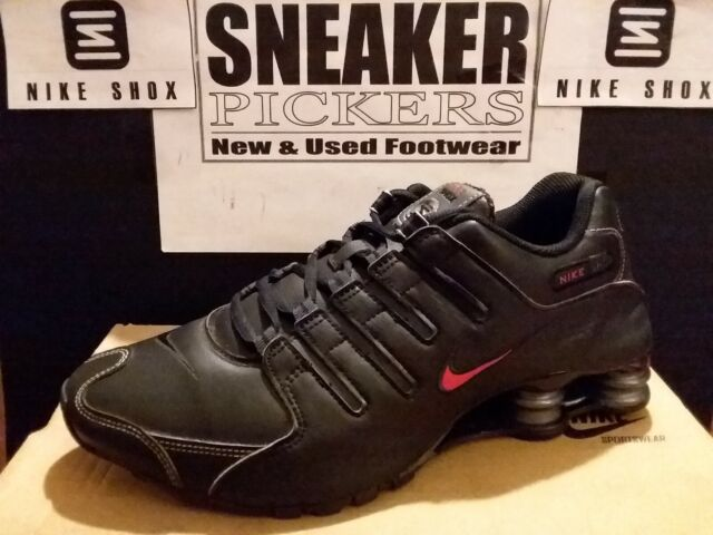 quality design 084c3 89b51 Nike Shox NZ Mens 378341-017 Black Leather Red Athletic Running Shoes Size 9