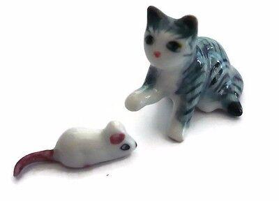 Mini Tiny Grey//White Striped Cat Dollhouse Miniature Ceramic Animal Figurines