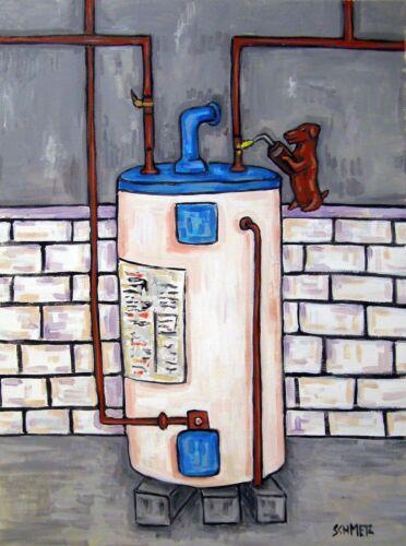 DACHSHUND plumber welder dog art 13x19  art print animals impressionism