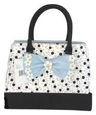 Betsey Johnson 3D FLIRTY FLORAL SATCHEL BM19560 BLK/GRY POLKA DOTS, Powder BLUE