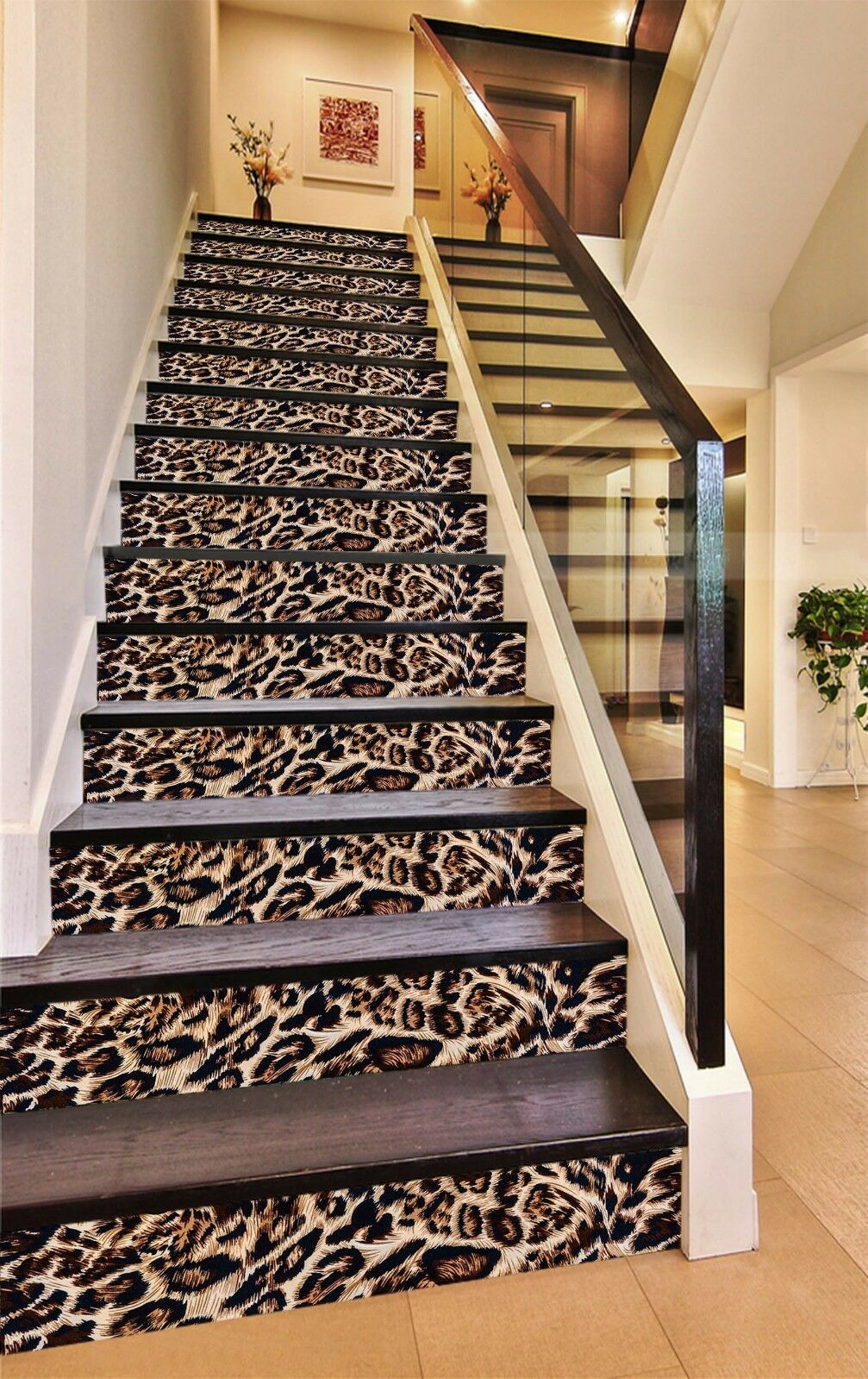 3D Leopard Pattern 609 Risers Decoration Photo Mural Vinyl Decal Wallpaper CA