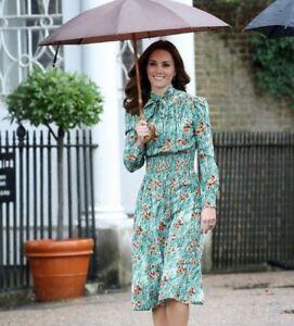 princess-kate-middleton-Green-Poppy-print-dress-designer-spring-women-dress-long