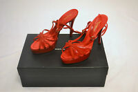 Dolce & Gabbana vero Cuoio Red Strappy Stilletto Heels Size 38 - Italy