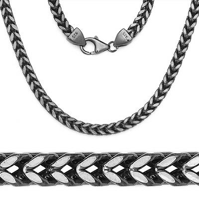 14k Black Gold 925 Sterling Silver Square Franco Mens Chain Necklace ITALY made