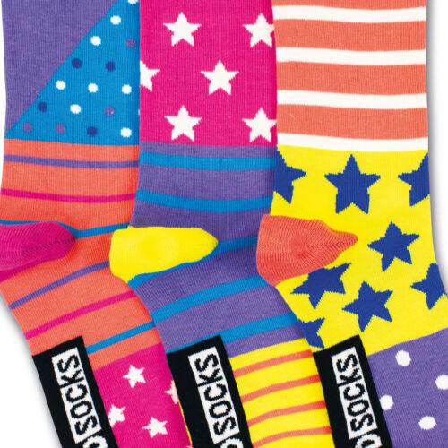 Socken Sterne und Streifen in 30,5-38,5 Strümpfe verrückte Socken im 3er Set