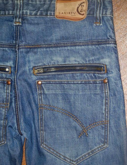 LAVIRTU Regular Fit Straight Leg Button Fly Men's bluee Fashion Jeans Sz 31x34