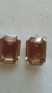 Gorgeous-Octagon-Stud-Earrings-using-Swarovski-Light-Colorado-Topaz-Made-in-UK